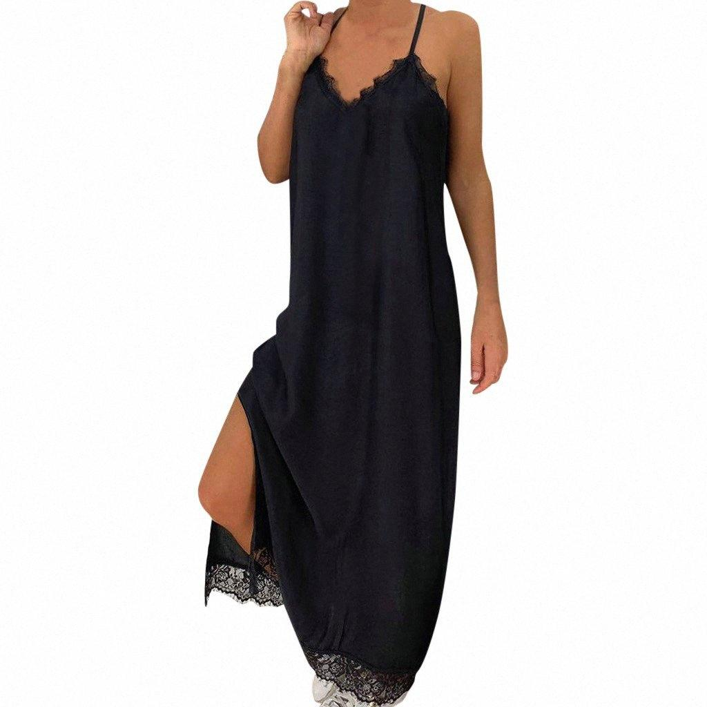 Sling estate delle donne maxi vestito sexy nero pizzo solido partito di festa del vestito da estate 2019 Beach Abiti Vestidos De Verano NUOVO ADIL #