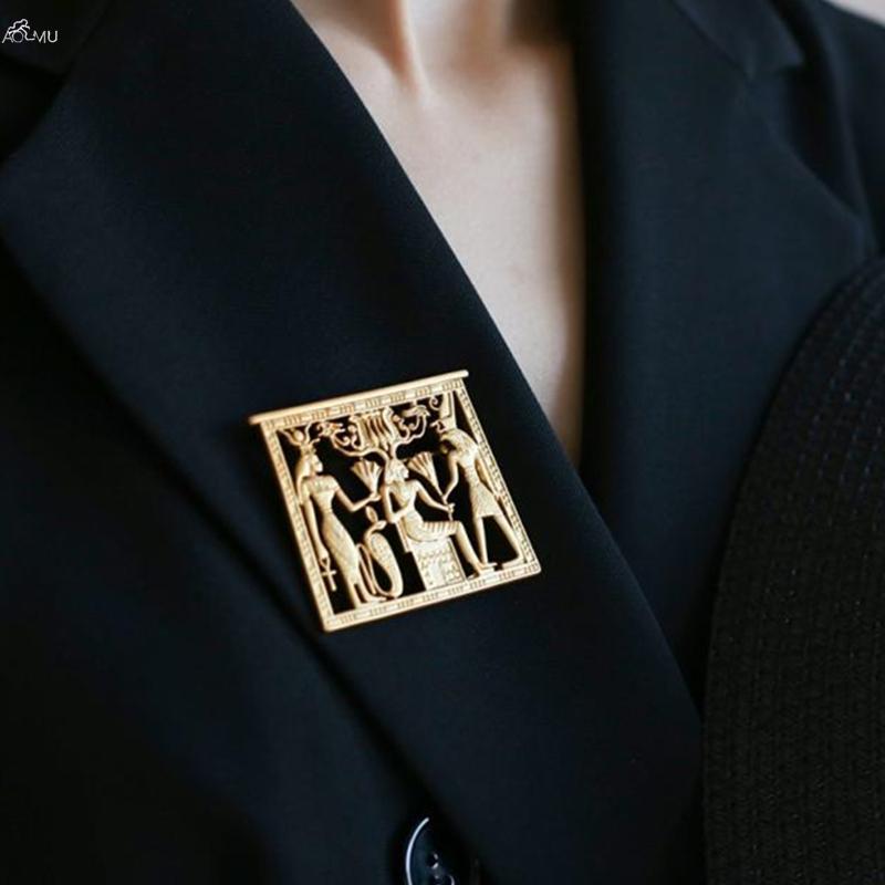 AOMU Vintage Egypte Portrait de couleur d'or géométriques en métal pour les femmes Broches Pins Accessoires Bijoux Fashion Party