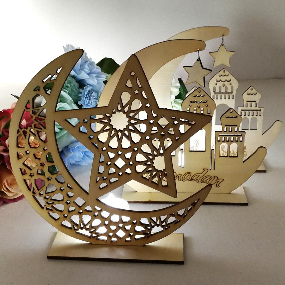 Ramadan in legno Decor islamica musulmana Eid Mubarak casa ornamento fai da te Hollow Moon Star pecora della decorazione del partito Festival Evento favore LJJP123