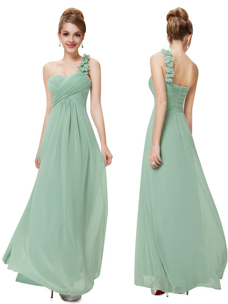 Especial Ocasião Vestidos A linha de um ombro Handmade Flores Sábio Royal Blue Longo Vestidos Chegada Nova Vestidos dama de honra