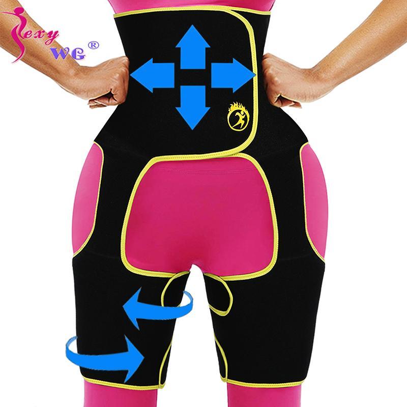 SEXYWG Mulheres Slimming cintura instrutor Perna Shaper 3 em 1 Corpo Shaper Voltar Apoio Belt Neoprene Shapewear Coxa Trimmer BuLifter