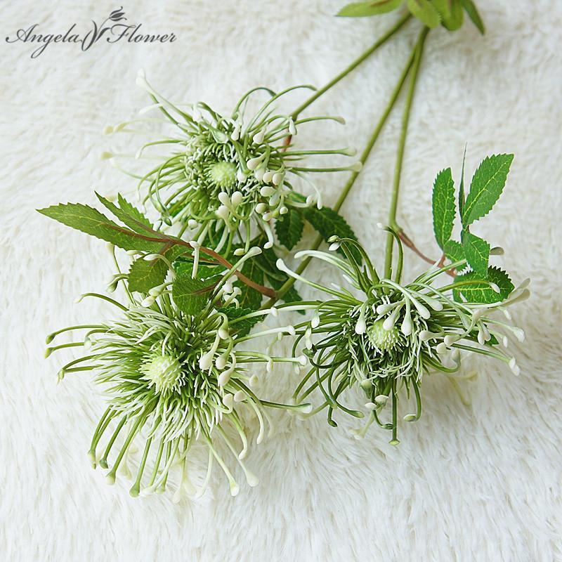 70см Искусственный одной ветви 3 вилки украшения ветроколесо иглы мат Моделирование поддельные цветок дома свадебный цветок хризантемы