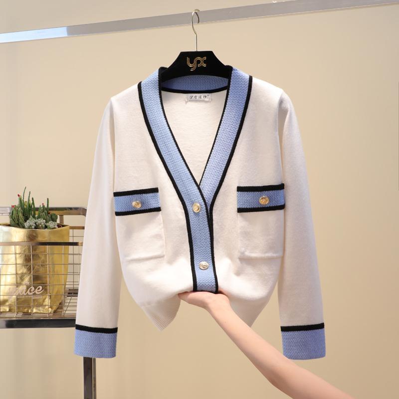 Роскошный дизайнерский бренд вязаный свитер для женщин V шеи Контрастные цвета Кнопки Трикотажные свитера кардигана CX200801