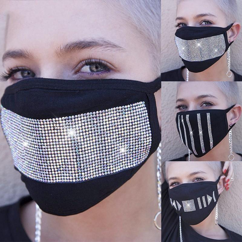 Черный пылезащитный маска Rhinestone Кристалл моющийся многоразовый хлопчатобумажной ткани Mascarilla Защита рта Респиратор Использование Ladies 7 2jy B2