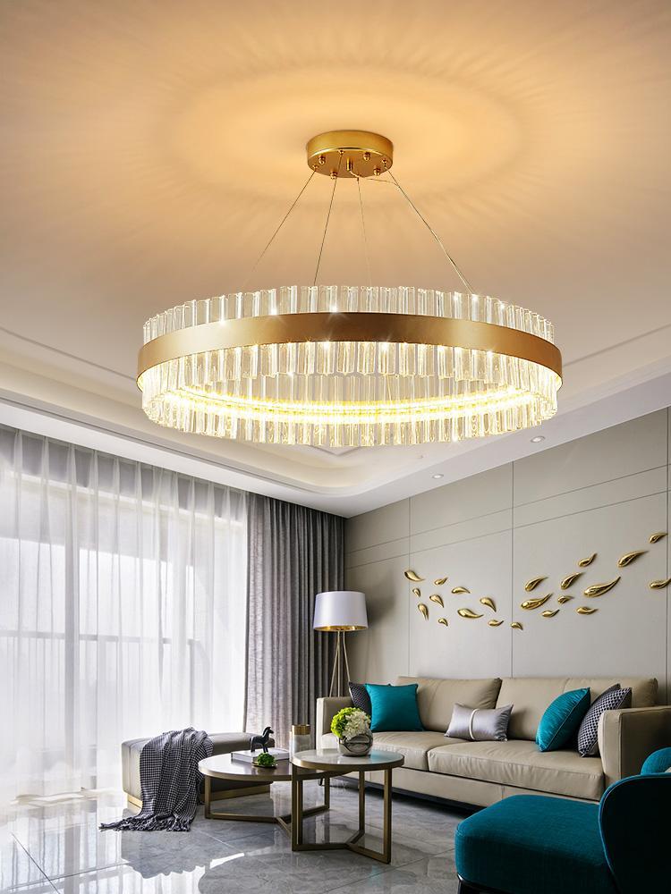 Modern Lüks Oturma Odası Kolye Işıkları Basit Yuvarlak Restoran Yatak Odası Lamba Yaratıcı Kristal Sarkıt Asılı Işıklar