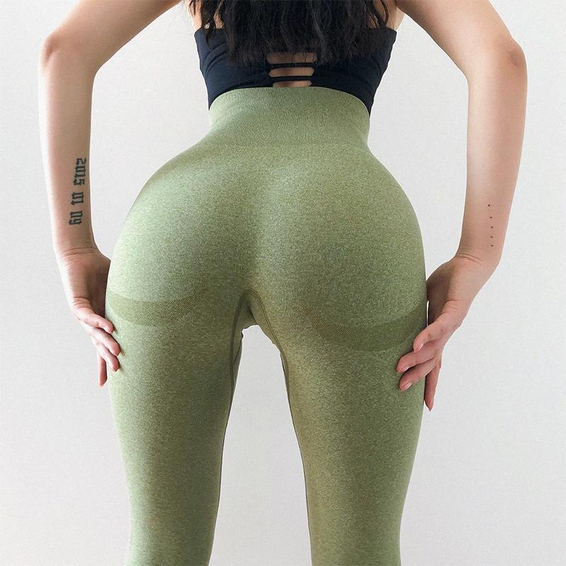 Йога Брюки высокой талией компрессионные колготки Спортивные штаны Женщины Gym Фитнес Леггинсы Бесшовная животика управления Йога Эластичный WzTj #