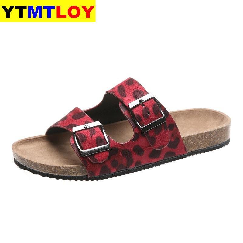 Moda Casual Rahat Plus Size 36-42 günü Kadın Sandalet Ayakkabı Terlik Leopar Flats Açık Yaz Platformu Slaytlar Kayma