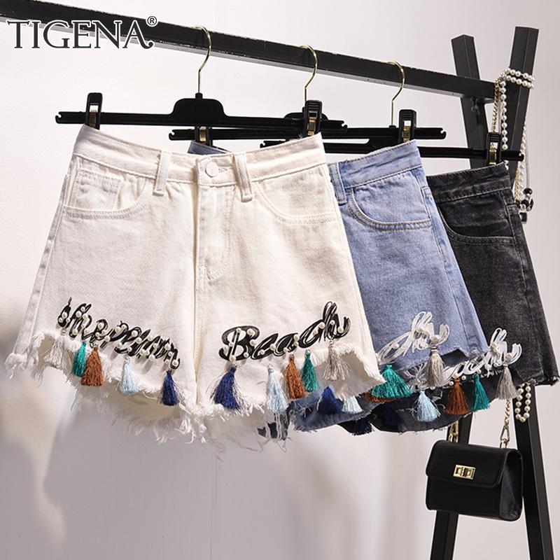Kadın Şort Tigena Püskül Boncuk Nakış Denim Kadınlar için 2021 Yaz Artı Boyutu Kore Yüksek Bel Kot Kadın Kısa Pantolon