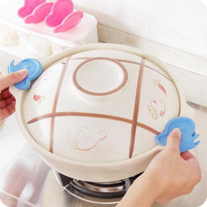 Бабочка Форма силиконовая Пот Держатель жаростойкие перчатки Блюдо Tray Клип Анти Scald Кухня инструмент многоцветный