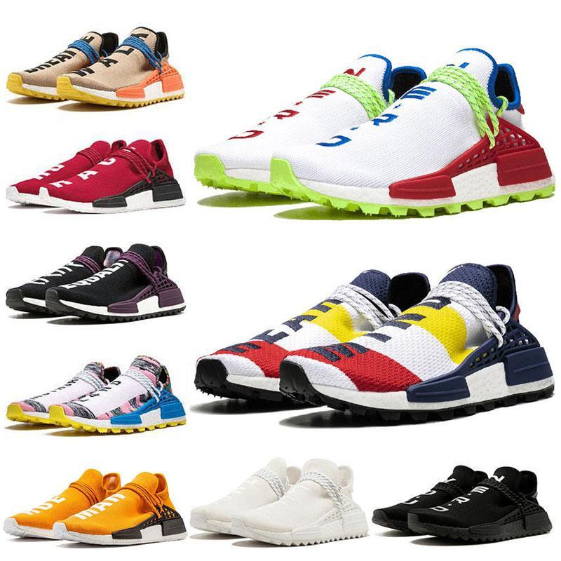 2020 Nuova razza umana percorso Hu Scarpe Running Pack solare Pharrell Williams Triple Bianco Rosso Blu Nerd Sole Nero Glow Mens Sneaker Sneakers