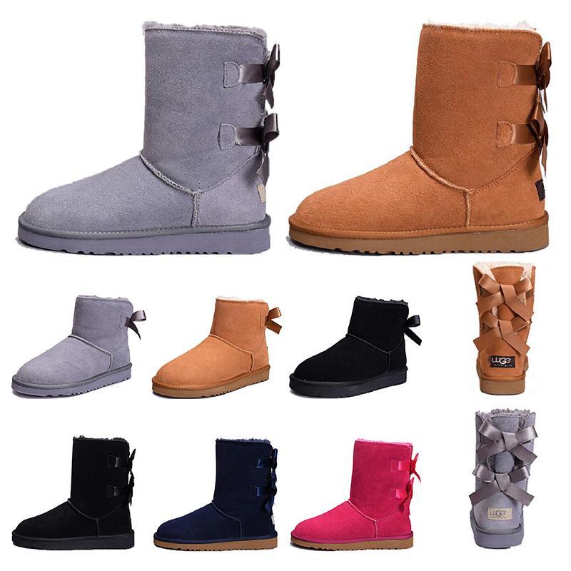 UGG boots 여자 짧은 미니 호주 클래식 무릎 키가 큰 겨울 눈 부츠 베일리 활 발목 나비 넥타이 검은 색 회색 밤나무 크기 5-10 2020 여성 장화