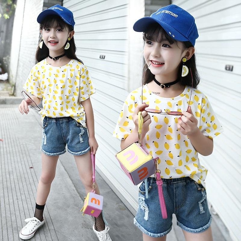 xJUOC 2020 nouveau coton imprimé fruits en vrac de la moyenne des lettres de style à la mode pour les enfants de fruits t-shirt des femmes et des enfants grands manches courtes ROU