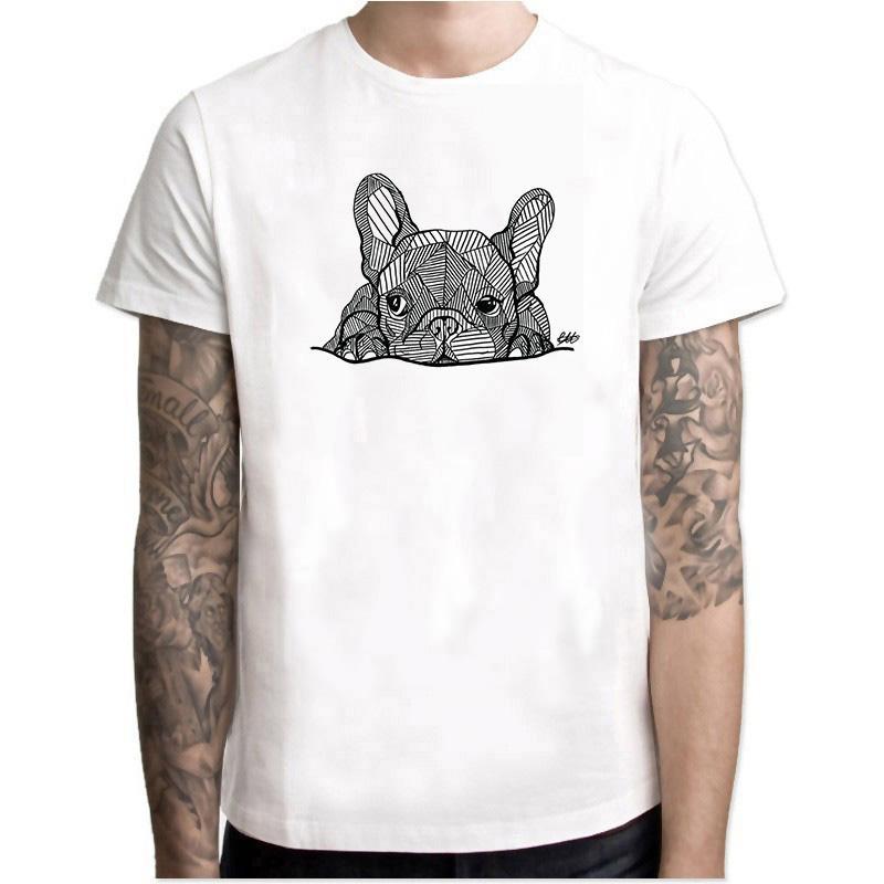 Fransız Bulldog Köpek Vogue Vitage Baskı Süper Erkek Tumblr T Gömlek Kıyafet O-Boyun Erkek Beyaz Gömlek Estetik Hiphop Üst