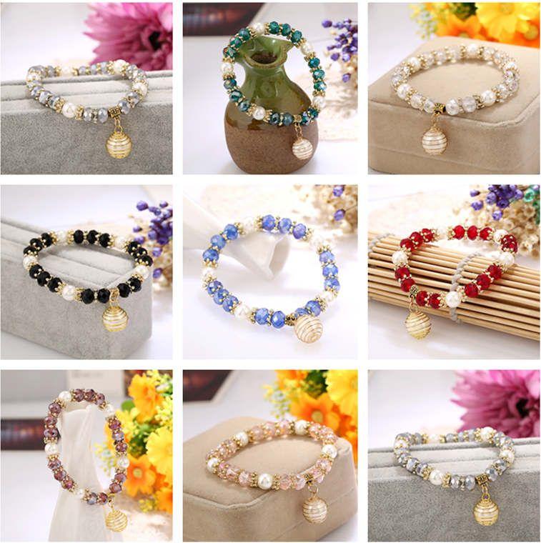 DHL Epacket versión coreana de las nuevas señoras de la pulsera exquisita joyería de moda brazalete de perlas de joyería pulseras del encanto DJFB525
