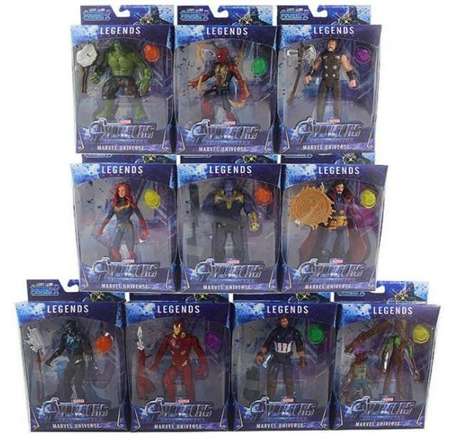 10PCS / 마블 장난감 어벤져 그림 주도 슈퍼 히어로 배트맨 캡틴 아메리카 액션 피겨 소장 모델 인형 세트