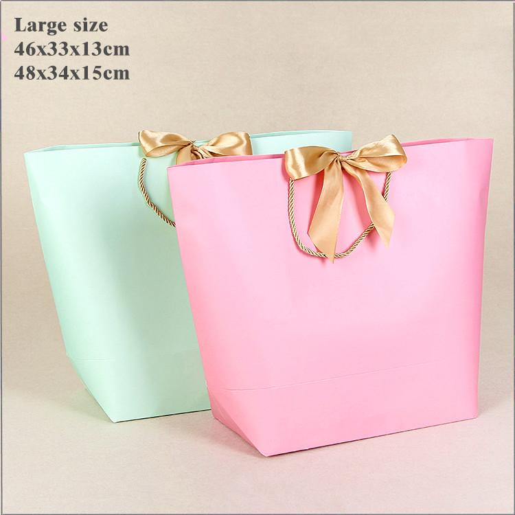 10x Large Size Gift Box Packaging Gold Handle Paper Gift Bags Kraft Paper With Handles Wedding Baby Shower Birthday Party Favor