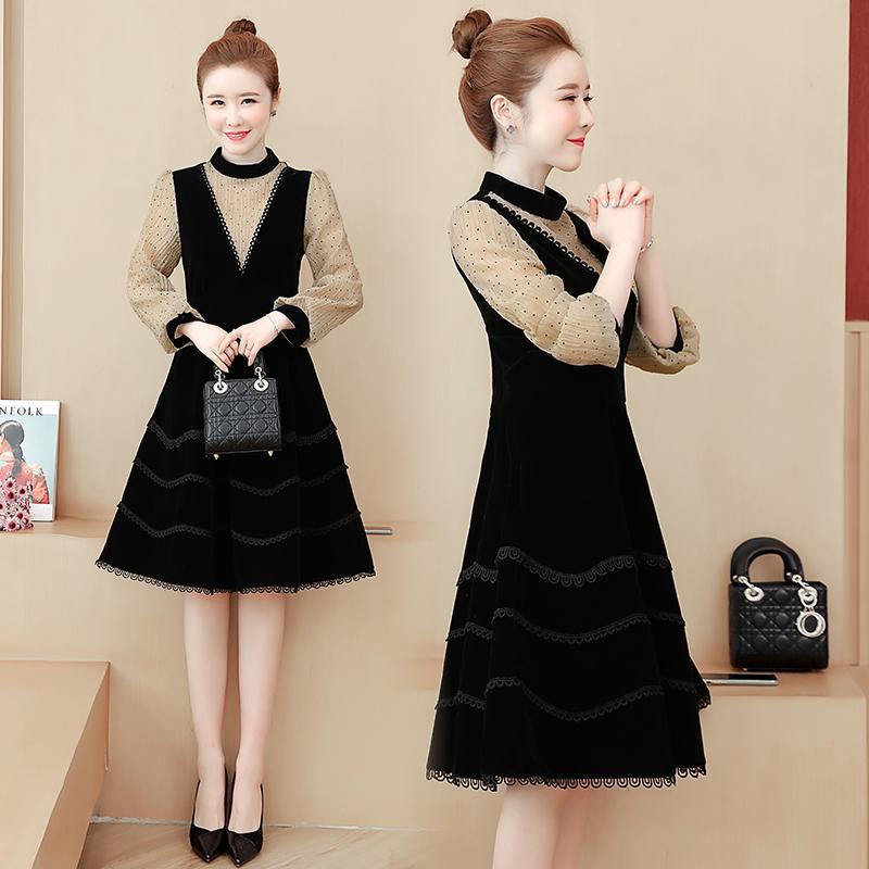 Plus Size points beige automne série polka manches patchwork noir velours une ligne femmes mince robe élégante de la mode 5XL 6609