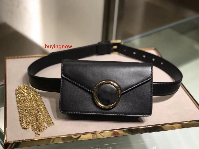 Alta calidad bolsas de hombro bolsa de cuero negro de la correa de cuero de lujo de la marca cadena de mujeres de los bolsos 2020 de la moda de doble uso bolso de la cintura de mini diseñador