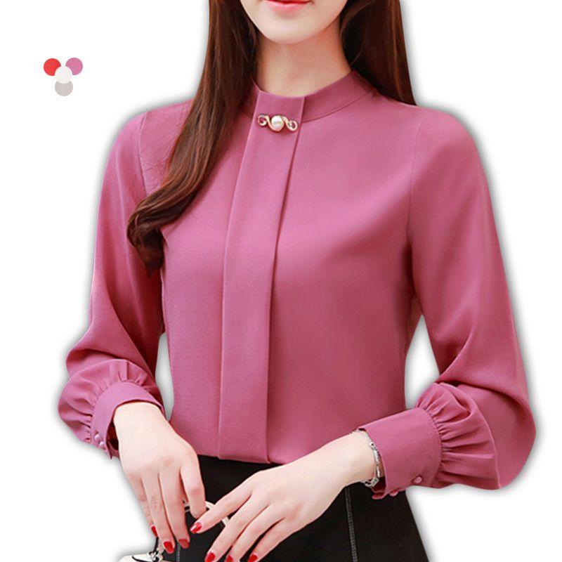 Women's Blouses & Shirts Korean Fashion Clothing Casual Long Sleeve Chiffon Blouse Women Print O-neck Red 2021 Spring Female Tops 3XL Plue S