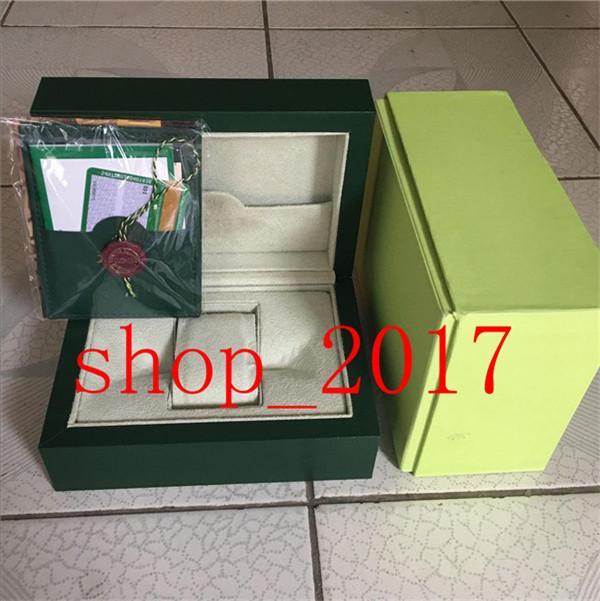 XX2020luxury design noir boîtier de la montre verte boîte cadeau montre Rolex étiquette de la carte de la brochure et du papier sont emballés en anglais boîtier de la montre suisse