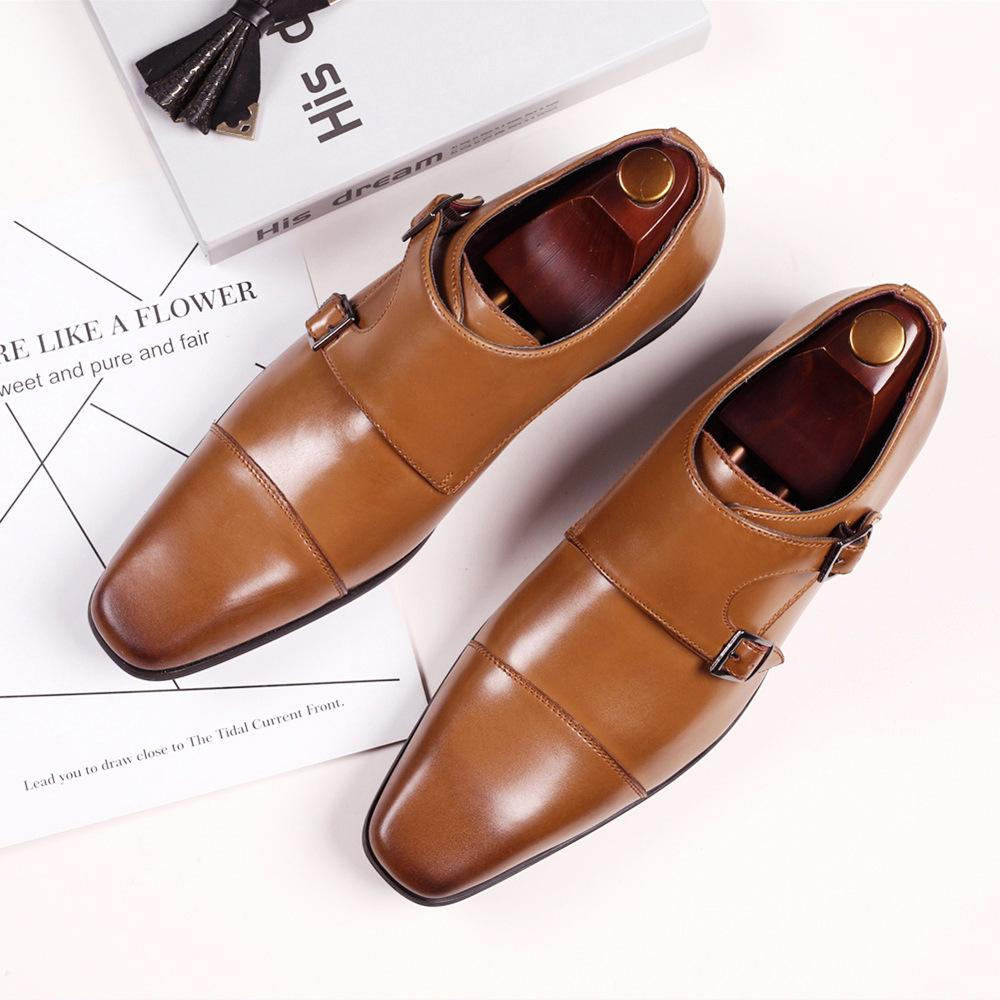 Erkekler Çift Monk Kayış Ayakkabı En Yeni Oxford Deri Erkek Kare Toe Klasik Günlük Klasik Rahat Kademeli Renk Loafer
