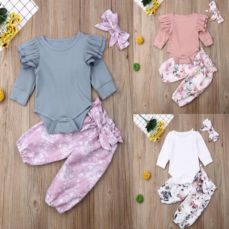 2020 2020 Neue Herbst-Winter-Baby-Kleidungs-gesetzte Kleinkind-Kinder-Blumenoberteile Hosen Leggings Outfits Set Kleidung Sets L03A #