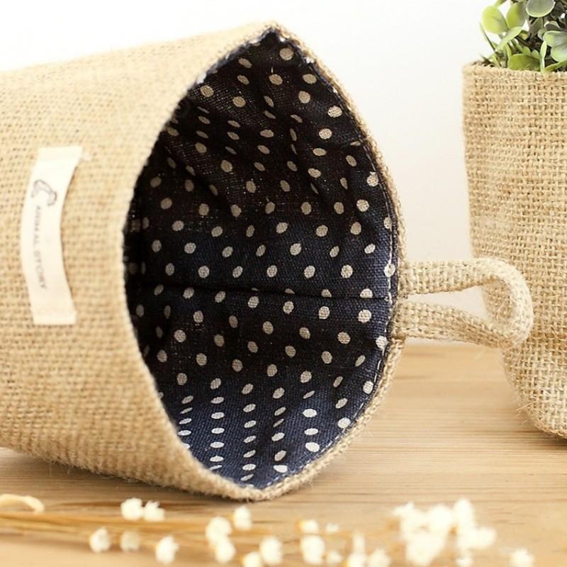 Yuvarlak Asma Saklama Poşetleri Dot Çizgili Desen Pamuk Keten Küçük Basket Katlanabilir Masaüstü Kozmetik tamamlanması Çanta Kolay 4 8zy cc Carry
