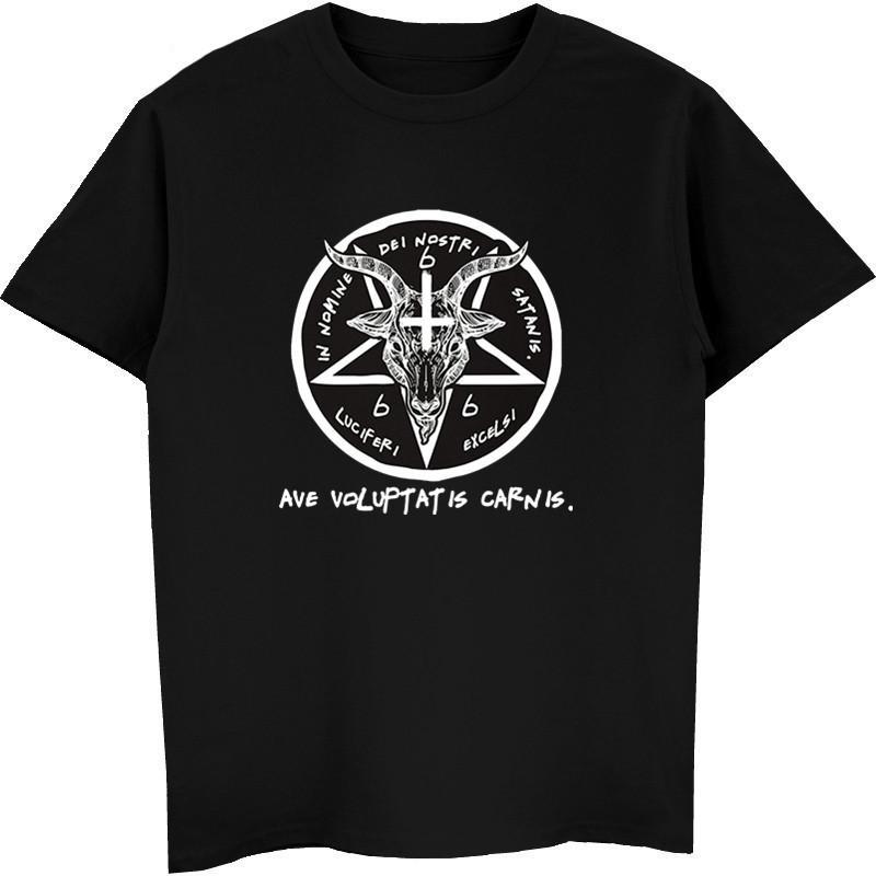 Şeytan Keçi Baş Tanrı gömlek erkekler% 100 Pamuk Kısa Kollu çıktısını sigili Komik tişört Erkekler Yüksek Kalite Tees Tops Soğuk