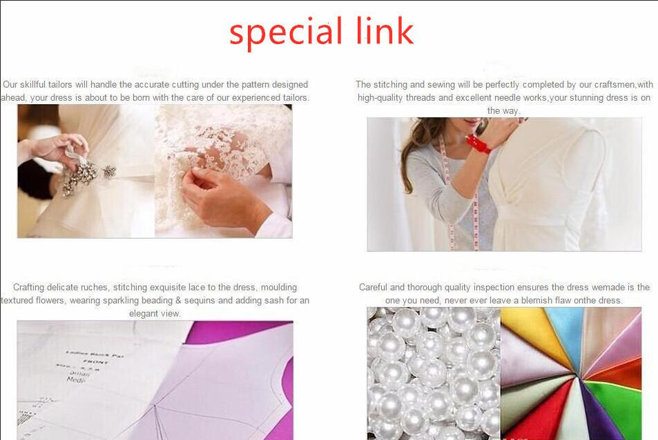 30 lien pour les frais matériels spéciaux et l'ordre de pointe ainsi que la taille sur mesure spéciale fait Vestidos de Noiva