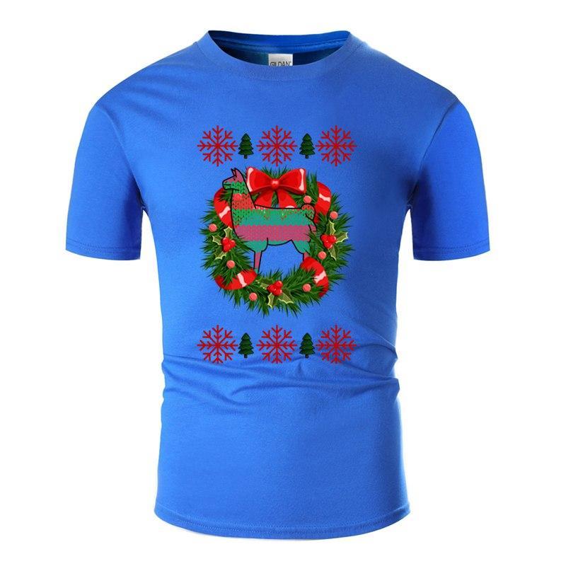 El traje nuevo de Navidad de la llama Camiseta hombre vestimenta natural clásico cómico divertido de los hombres camisetas de manga corta T-Top