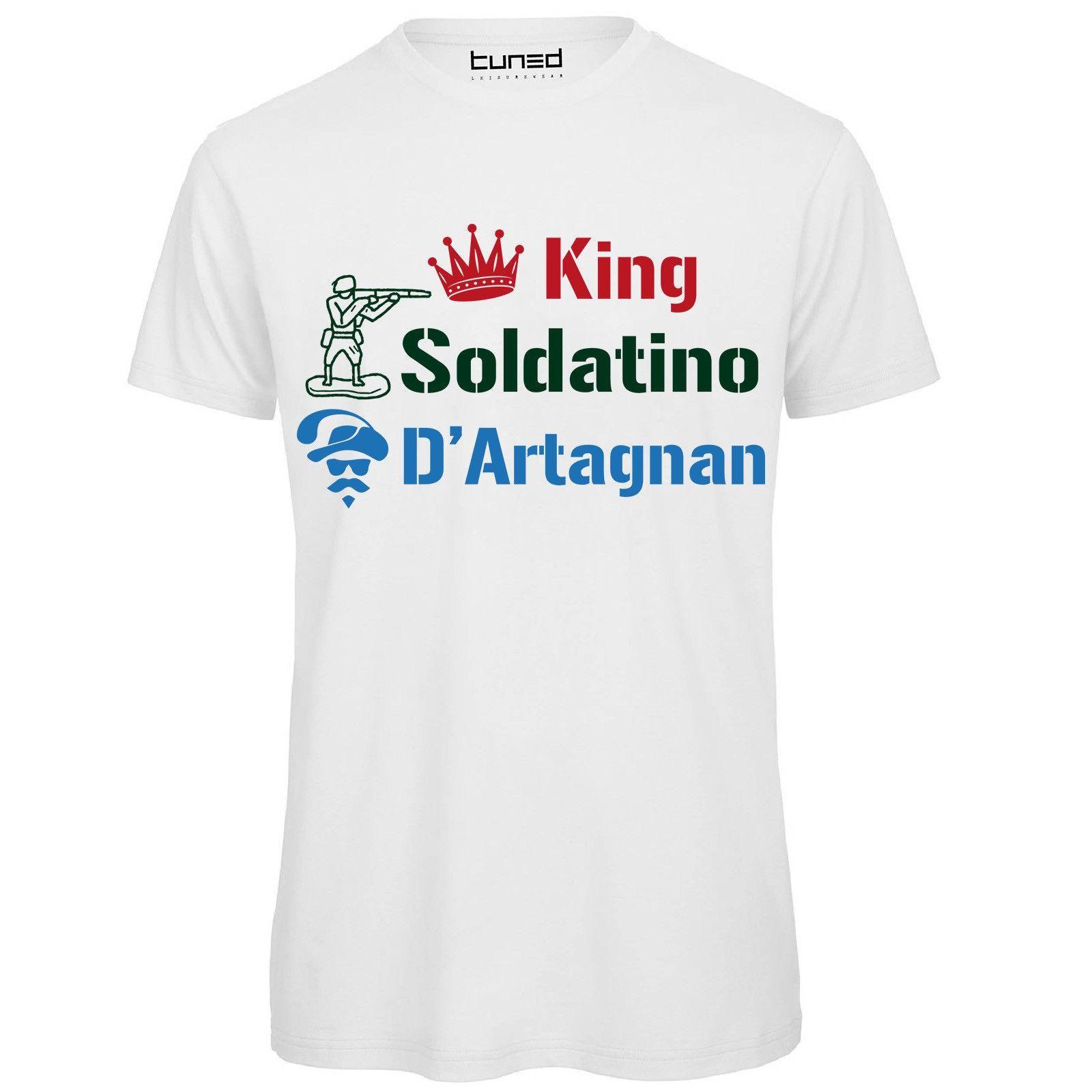 Футболка Ironica Uomo Maglia Con Stampa Citazioni Film Soldatino King Dartagnan Топы Мужской футболки