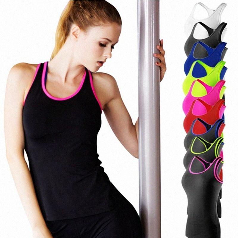 Verão Mulheres Yoga Top Camisa sem mangas Yoga Vestuário respirável Ginásio de alças branca menina Running Coletes Camiseta vHrk #