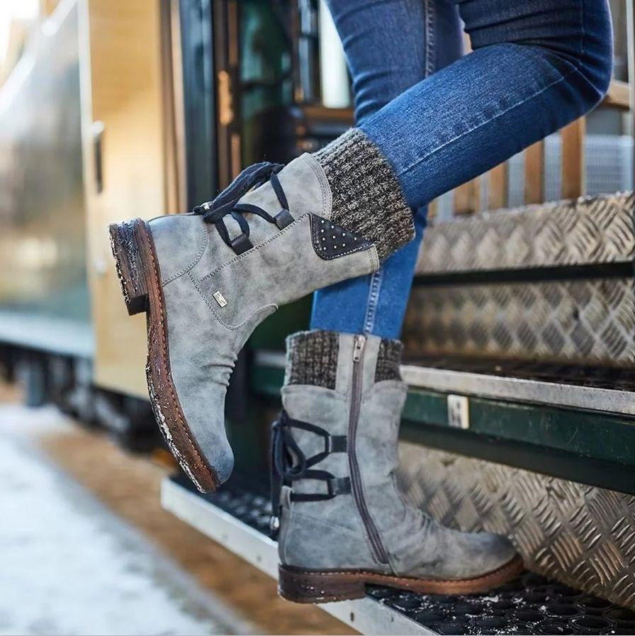 Женщины Boots зима осень девушки плоский каблук ботинка способа вязания пэчворк обувь Дешевые хорошее качество с подарком Мягкая кожа платформы обувь W