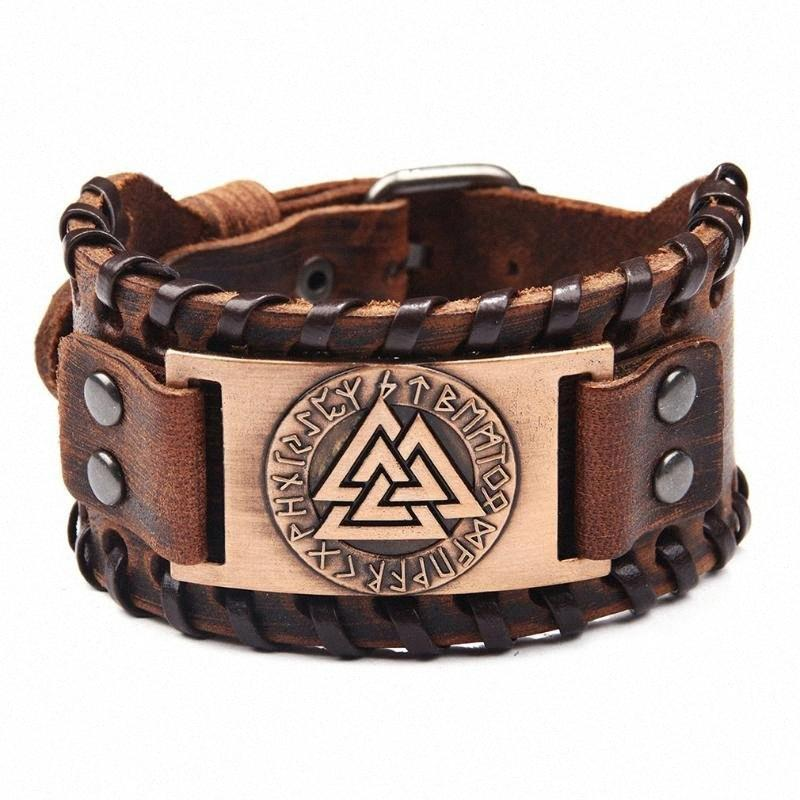 Bracciale in lega Nordic pelle maschile modello vichingo Bracciale Unisex Trendy dei monili del braccialetto largo cinturino in pelle # 3 Q9YB #