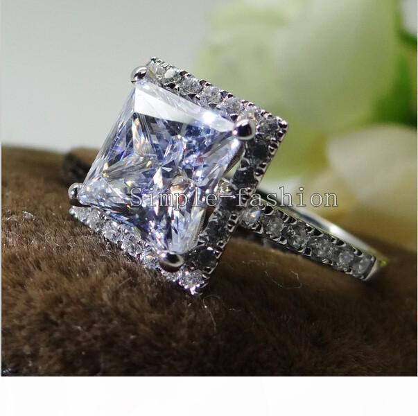 Мода ювелирные изделия Женщины 8мм Белый Камень 5A циркон камень 10KT Белое Золото Заполненные Engagement Wedding Ring Finger Размер США 5-11