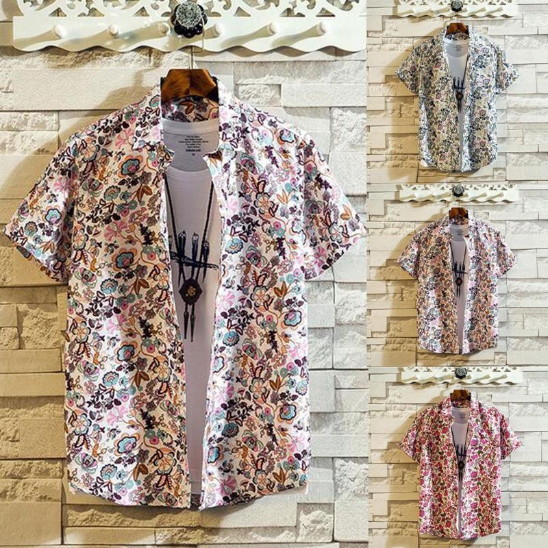 Männer Casual Hemden 2021 Ankunft Männer Hawaiianer Camicias Eine Taste Wild Bedruckte Kurzarm Blusen Tops