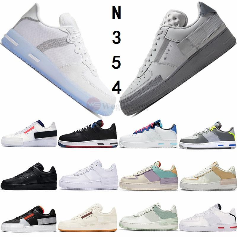 Nike Air Force 1  Scarpe 20ss N354 Tipo Sneakers Summit White Light Bone grigio nebbia Zinnia Ombra Triple Nero N.354 all'aria aperta forcée formatori di moda