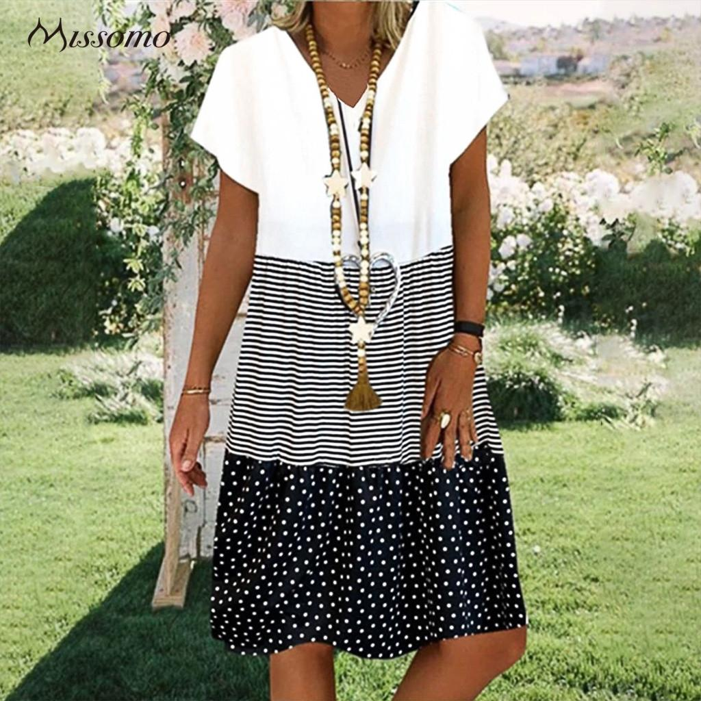 MISSOMO Women Summer Dress Loose Stripe Dot V-Neck Short Sleeves Casual Boho Dress bohemian Sundress Vestidos Party Dresses 2020