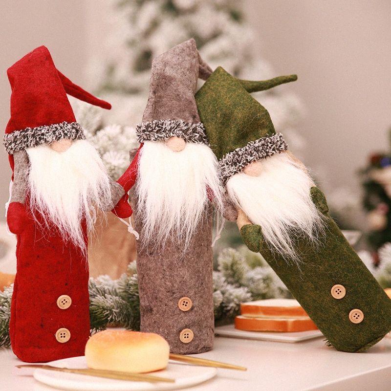 Noel Faceless Doll Şampanya Şarap Şişesi Seti Noel Baba Doll Şarap Çanta Restoran Festivali Giydirme Şapka 77gI #