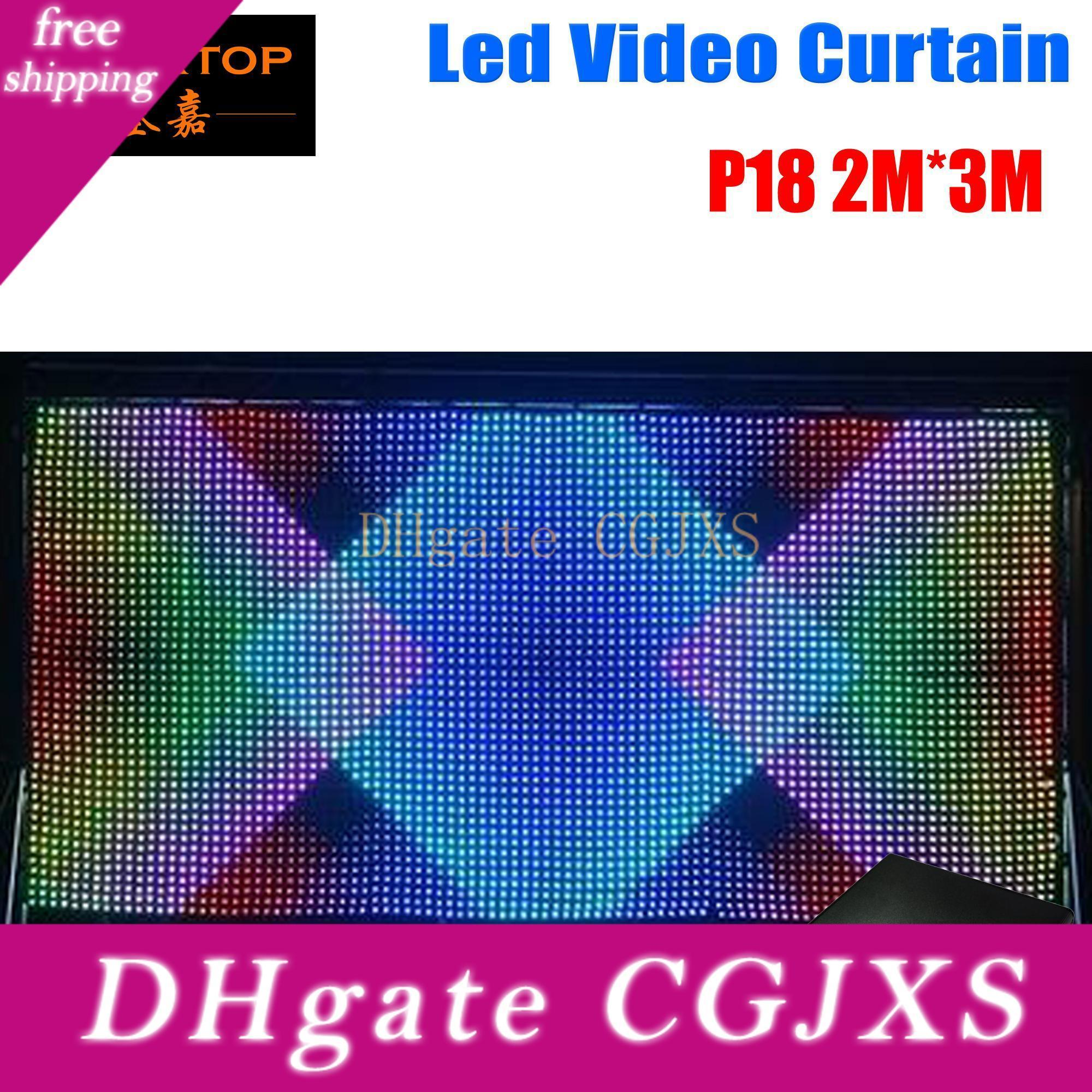 P18 2m *3m Led Video Curtain ,Fast Ship Led Vision Curtain With Professional Line Pc /Sd Controller For Dj Backdrops Lcd Display