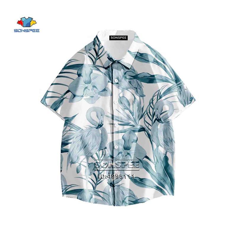 SONSPEE Green Leaves Hemd 3D für Männer Short Sleeve Hip Hop Kleidung Stree Hawaiihemd-Sommer-beiläufige Strand Blumen Shirts drucken