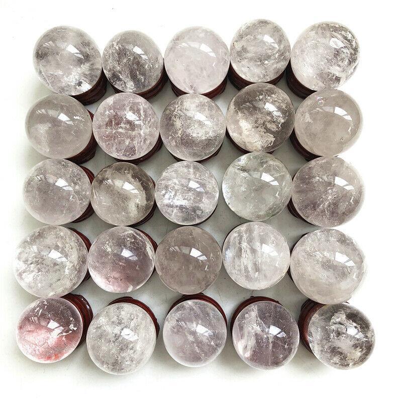 1PC Natural White Quartz Crystal Sphere Ball Orb Gem Stone Healing Top Quality