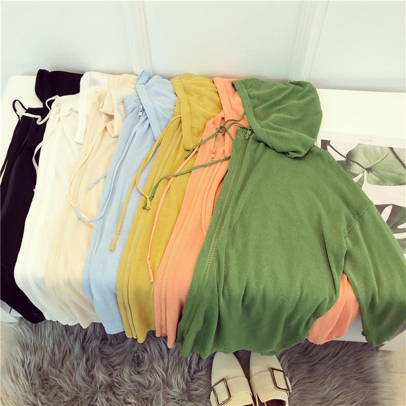 Cotone estate cappotto 19 cerniera nuova protezione solare cardigan con cerniera cappotto con cappuccio lavorato a maglia il cardigan allentato fuori pigro 9039