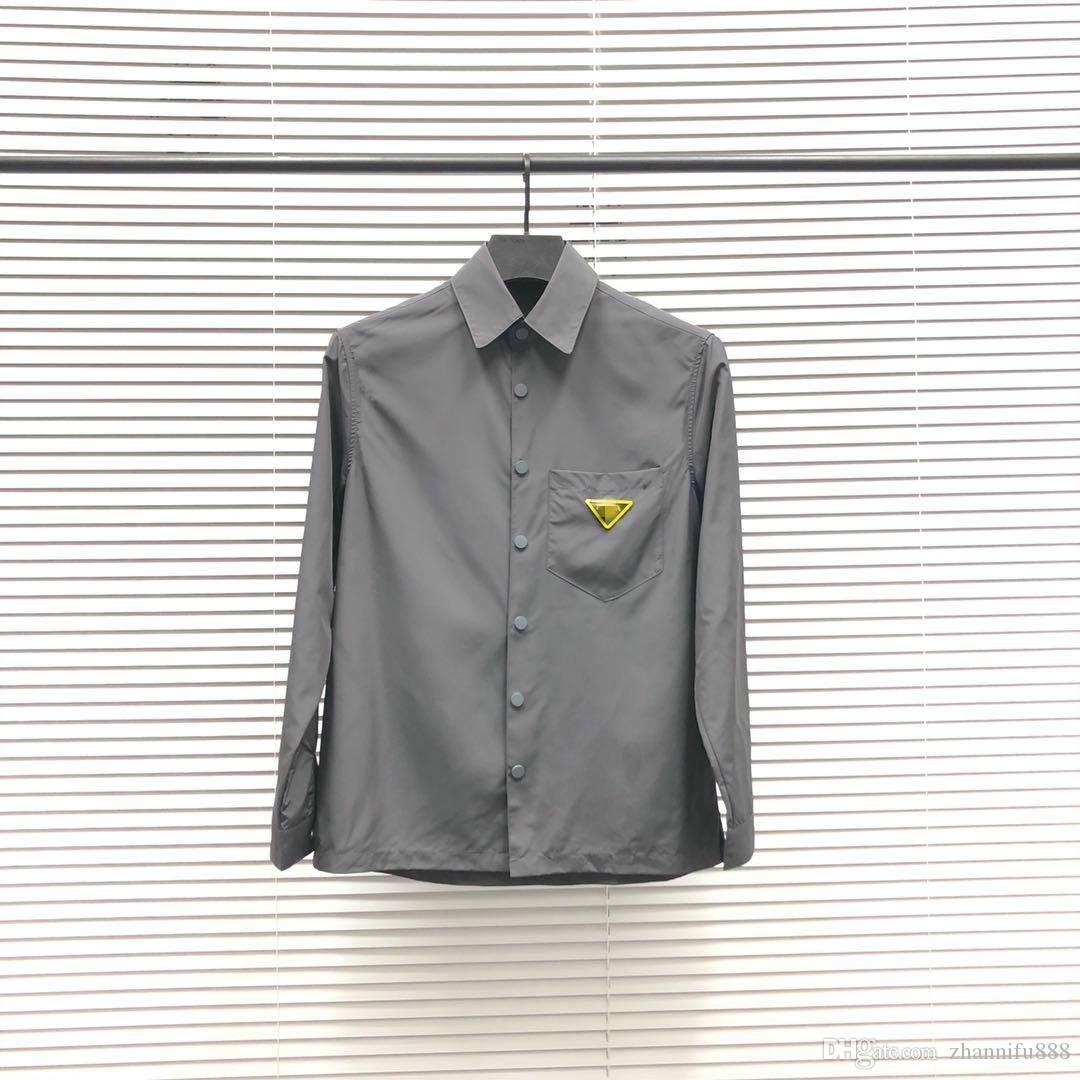 20ss رواجا قميص الرجال الرجعية بلوزة استيراد المواد مريح وتنفس ضئيلة إلكتروني الذراع الصدر مثلث القمصان طية صدر السترة