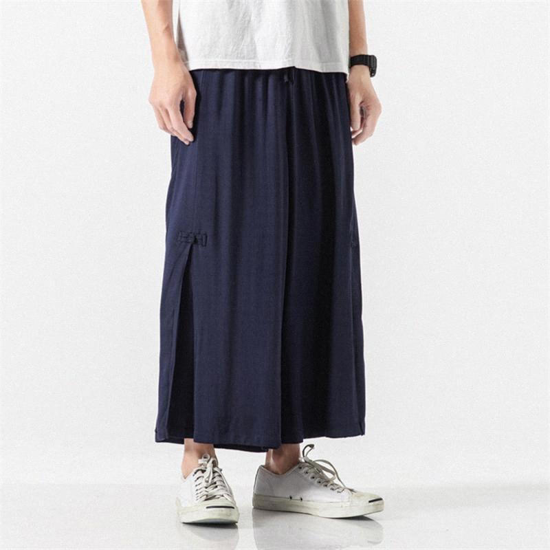 2020 2020 New Summer Cotton Mens mince en lin Pantalon large jambe Streetwear desserrées Pantalons simple longueur cheville Pantalons Plus Size M 8xl de Bi wVnC #