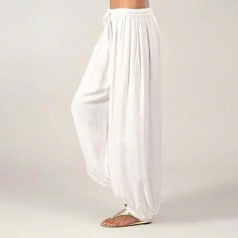 Женщины Плюс Размер Сплошные цвета вскользь Сыпучие высокой талией брюки Йога Брюки Женщины Фитнес Бег Mujer Йога спортивная одежда # 20 XuTz #