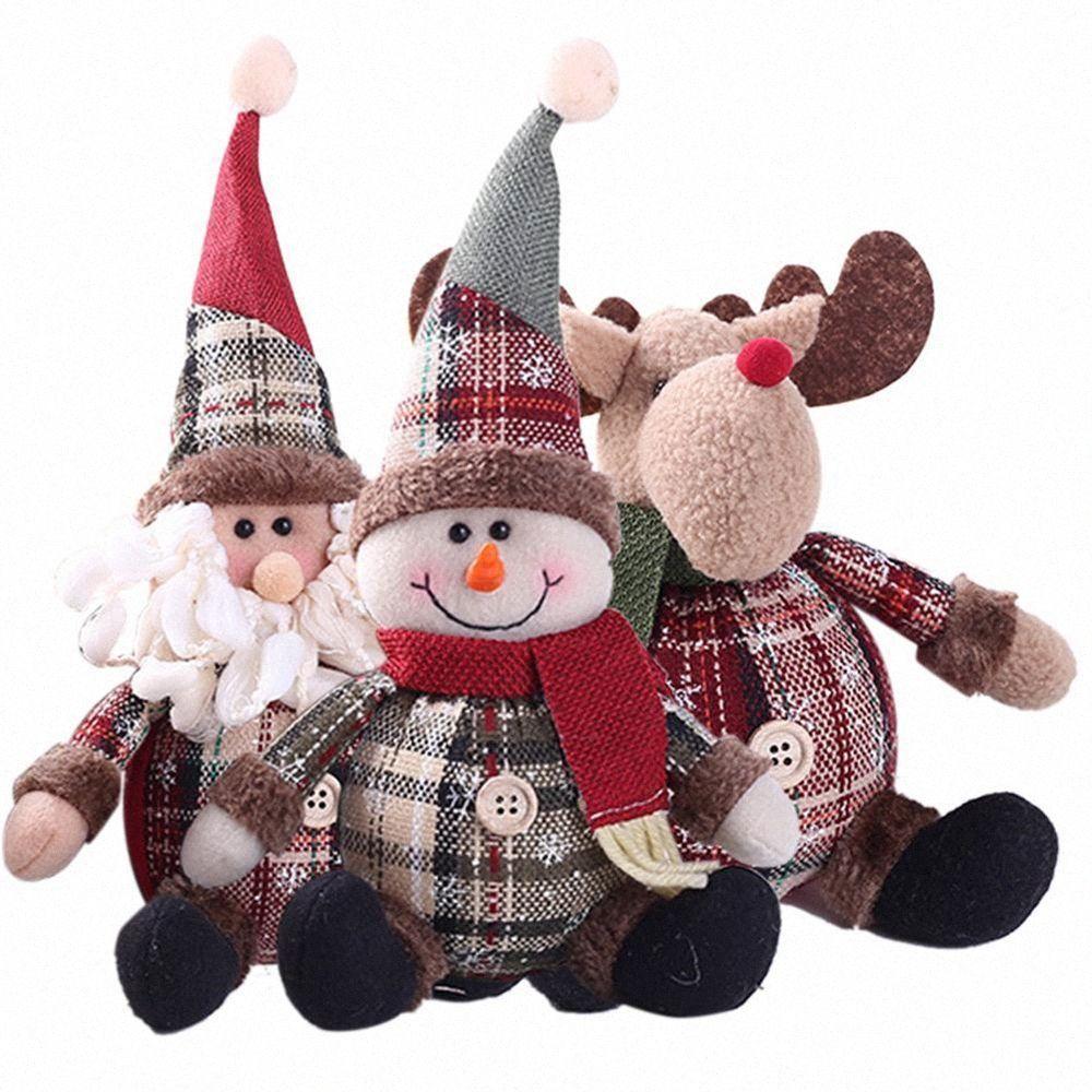 Inicio Tabla partido del festival Elk juguetes de peluche relleno del árbol de Navidad la decoración de Santa Claus muñeca colgante de la Navidad del muñeco de nieve adorno de PuLh #