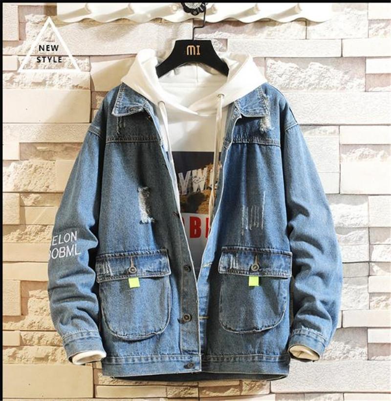 Carta de otoño invierno para hombre de las chaquetas de mezclilla azul bolsillos del abrigo rasgado blanqueado del diseñador del Mens Coats adolescentes Hip Hop Streetwear