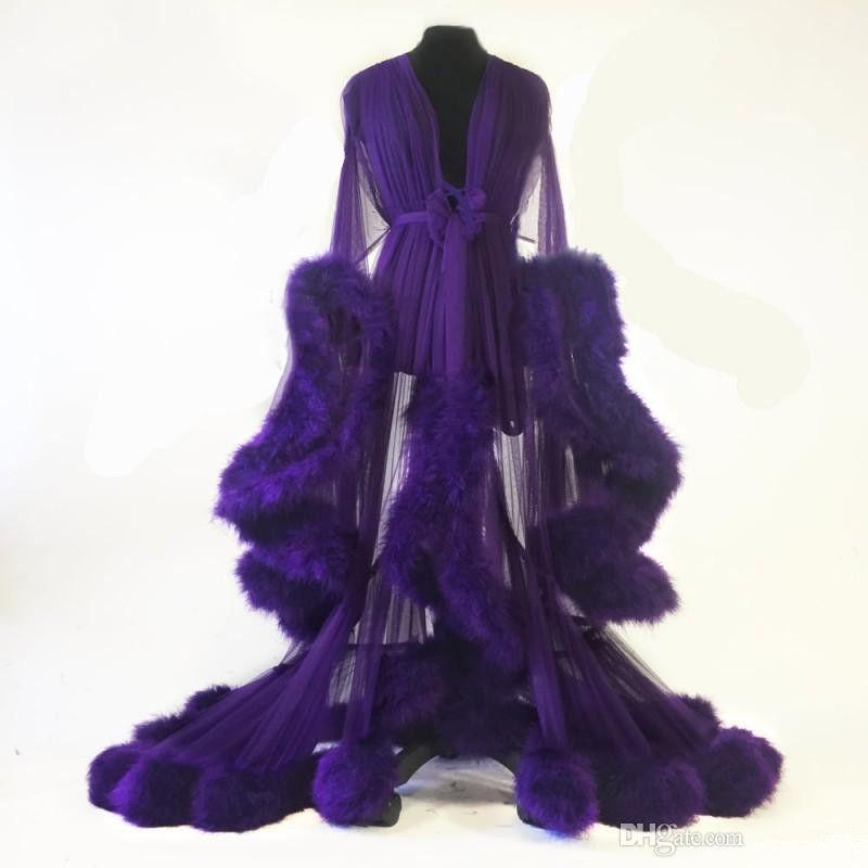 Novo 2020 penas roxas mulheres inverno sexy quimono festa grávida sleepwear mulheres roupão de banho roubado roupão shawel