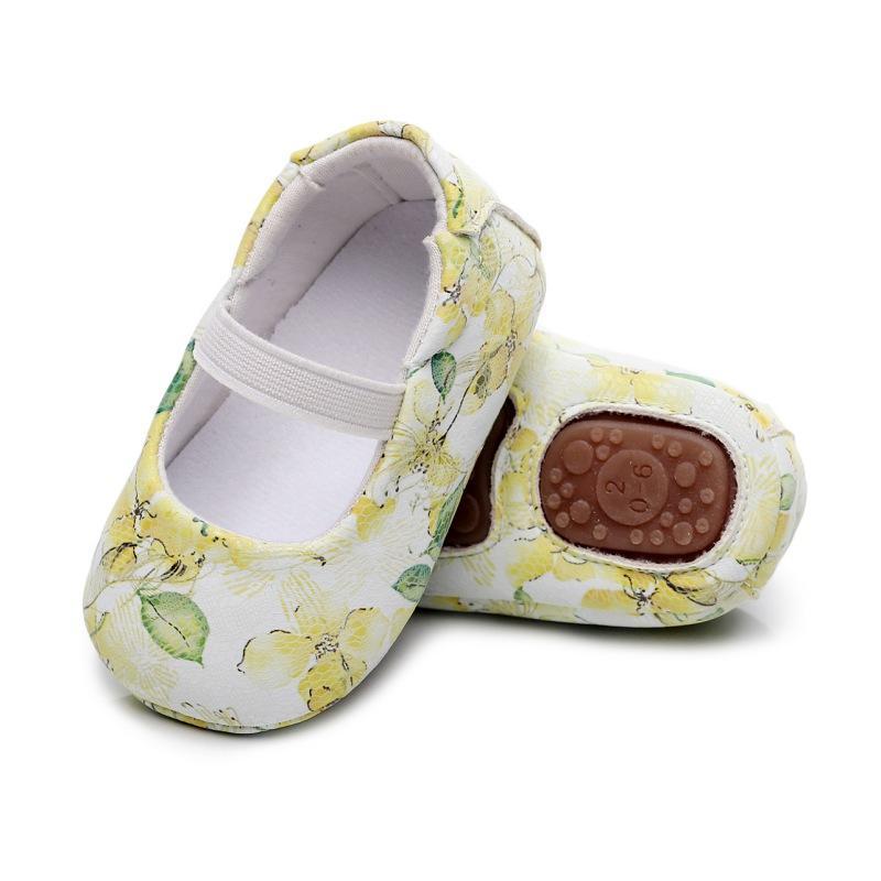 Criança recém-nascida macia Floral Sole sapatos de bebê meninas Shallow PU sapatos de couro infantil da criança anti-derrapante